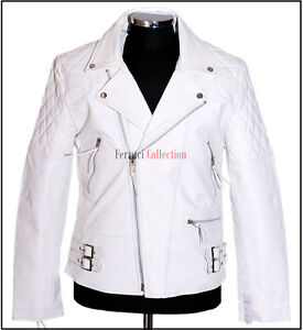 Outlaw White Men's Biker Motorcycle Cruiser Real Cowhide Fashion Leather Jacket