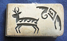 Mans Vintage Antelope Money Clip Hopi Sterling Silver Cutout Overlay