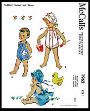 Baby Bonnet Playsuit Sewing Pattern McCall's #1962 GIRL Child KIDS ROMPER Hat -1