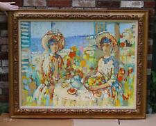 Vintage HEINRICH GANS Post-Impressionist Fauvist Oil Painting, Tea Party Women