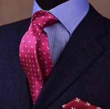 Milano Burgundy Red Paisley Woven Skinny Tie Boss Fashion