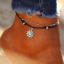 Vintage Beach Multi Layer Beads Sun Women Anklets Chain Foot Party Jewelry New