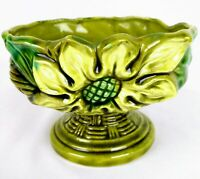 Vintage Pedestal Ceramic Vase Art Deco Planter w Flower Green & Blue Japan 2136B