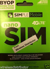 SIMPLE MOBILE NANO SIM CARD UNLIMITED T-MOBILE NETWORK ==