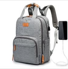 Luxury Multifunctional Baby Nappy Backpack Waterproof Mummy Bag with USB Port