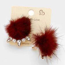 "1.25"" burgundy furry fur pom pom crystal clip on earrings non pierced"