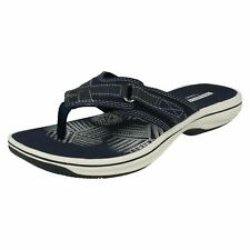 95521c5147a Clarks Brinkley Sea Navy Synthetic Adjustable Hook Loop Womens Flip Flop  Sandals
