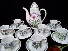 Portmeirion Botanic Garden Treasure Flower Coffee Pot + various cups and saucers