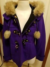 Purple winter coat Juicy couture hooded with faux fur collar medium size