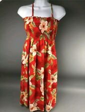 Hawaiian Dress Sleeveless One Size Floral Hibiscus Red Long Dress Tiki Two Palms