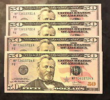 Collectible $200 (4) New Uncirculated Fifty $50 Dollar Bills In Sequential Order