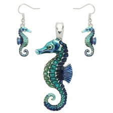Sea Horse Pendant SET Necklace Earrings Seahorse Enamel Charm Beach Jewelry BLUE