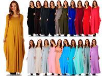 Women's Rayon Span Maxi Boho Harem Long Sleeve Dress (Size:Small-5X) AD1076