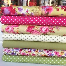 Lovely Lime floral 7 piece fat quarter bundle 100% cotton for sewing/craft