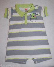 Toddler Boys Jumper Shorts FISHER PRICE Green Gray Stripe HANDYMAN 12 Mo HAMMER