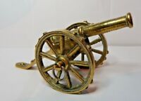 Lovely Vintage Old Brass Model of A  Military Field Cannon turning wheels