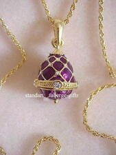 Russian Empress Alexandra Purple Faberge Easter Egg Pendant with Necklace