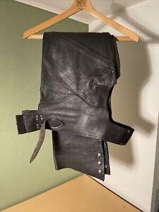 Harley Davidson Vintage Genuine Black Leather USA made Riding Chaps Men's Large