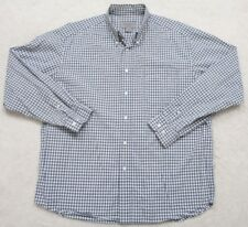 Eddie Bauer White Blue Dress Shirt Large Pocket Long Sleeve Men's Man's Striped