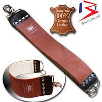 Genuine Leather Sharpening Strop Straps Belt Straight Cut Throat Shaving Rasoirs