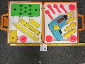 1977 Vintage Fisher Price Tool Kit Box w/ Toy Drill, Ruler, Drill Bits, & Screws