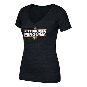 Pittsburgh Penguins NHL Adidas Women's Dassler Black Tri-Blend V-Neck T-Shirt
