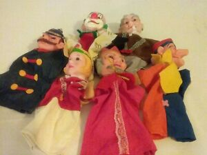 Lot of 6 Vintage 1970's Rubber Head Hand Puppets