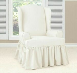 Sure Fit Cotton Duck Wing Chair ruffle skirt Slipcover White washable one piece