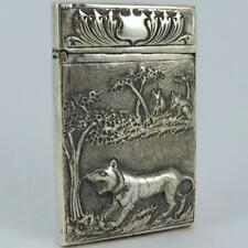 ANTIQUE 19TH CENTURY INDIAN BENGAL TIGER WILD ANIMALS SCENIC SILVER CARD CASE