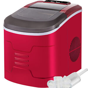 Vevor Red Portable Compact Electric Ice Maker Machine Mini Cube 26lb/Day