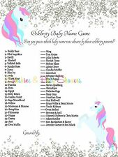 Celebrity Baby Names Baby Shower Game Cute UNICORN SILVER GLITTER 20 players