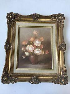 Robert Lox Pink Roses Oil Painting Gilt Framed Medium Signed Vintage  B11