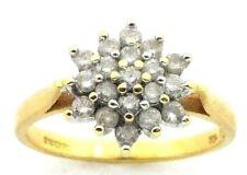 Mujer 18 Ct 18 Quilates Oro Amarillo Racimo de Diamantes Anillo Tamaño Ru O