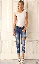 Cotton Mid-Rise Boyfriend Jeans for Women