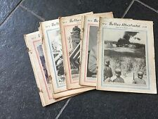 SET OF 10 VINTAGE WWII NEWSPAPERS MAGAZINES THE WAR ILLUSTRATED 1941, 1942, 1943