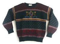 VTG Susan Bristol Wool Sweater 1989 Size 34 Small Green Red English Crest