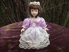 Ceramic & Plastic? Vtg String Jointed Ballerina Bridesmaid Doll Painted Features