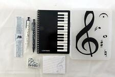 Music Themed Stationery Set - White keyboard pencil case, ruler, Mechanical Penc