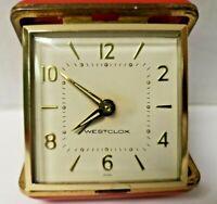 Vintage Red Westclox MINI Wind Up Travel Alarm Clock Working Nice