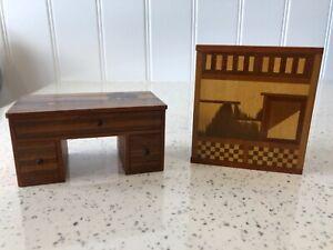 Dolls house miniature 1:12 HANDMADE 1930's desk + corner cupboard