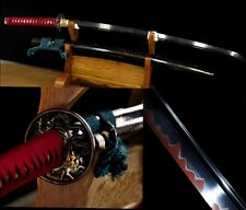 Japanese Ninja Sect Shrine Samurai Sword Katana T10 Red Black Steel Sharp Blade