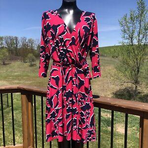 20W-22W NWT LEOTA Womans  Pink Shadow Floral Faux Wrap Dress