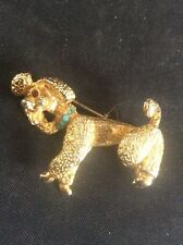 Vintage Sphinx Poodle Dog Brooch Turquoise Stone Collar 1960s Costume Jewellery
