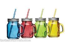 Kitchen Craft Set Of 4 Mini Coloured Drinks Glass Jam Jars With Lids & Straws