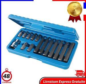 Coffret de 15 Embouts Torx Longs et Courts Embout T20 a T55 Douilles Standard FR