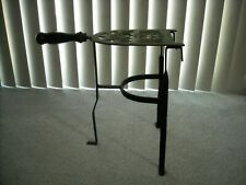 "Vintage Brass & Iron Hearth Fireplace Iron Trivet Stand Wood Handle 13.75"" Tall"