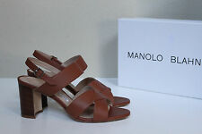sz 7 / 37.5 Manolo Blahnik Gorham Brown Leather Ankle Sandal Open Toe Heel Shoes