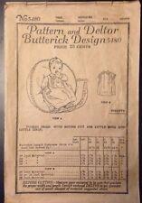 1920s Butterick Design 5480 Vintage Infant Toddler Child Dress Pattern Deltor