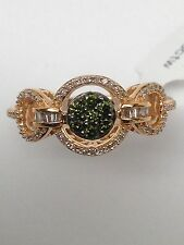 10K Rose Gold Green Diamond and White Diamond Cluster Ring 0.35ct twt