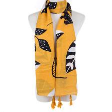 Ladies Fashion Scarf & Tassels, Mustard Yellow, Large black modern leaves Arty